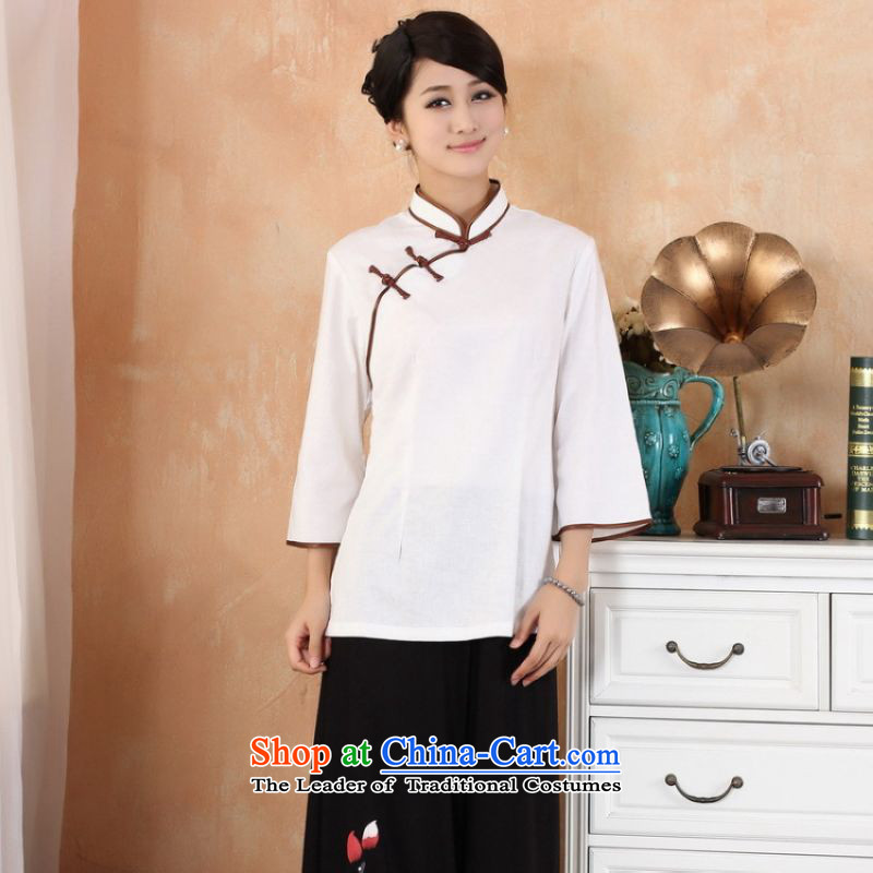 Ms. Li Jing Tong Women's clothes summer shirt collar cotton linen Chinese Han-women in Tang Dynasty improved cuff?- 2 white?L