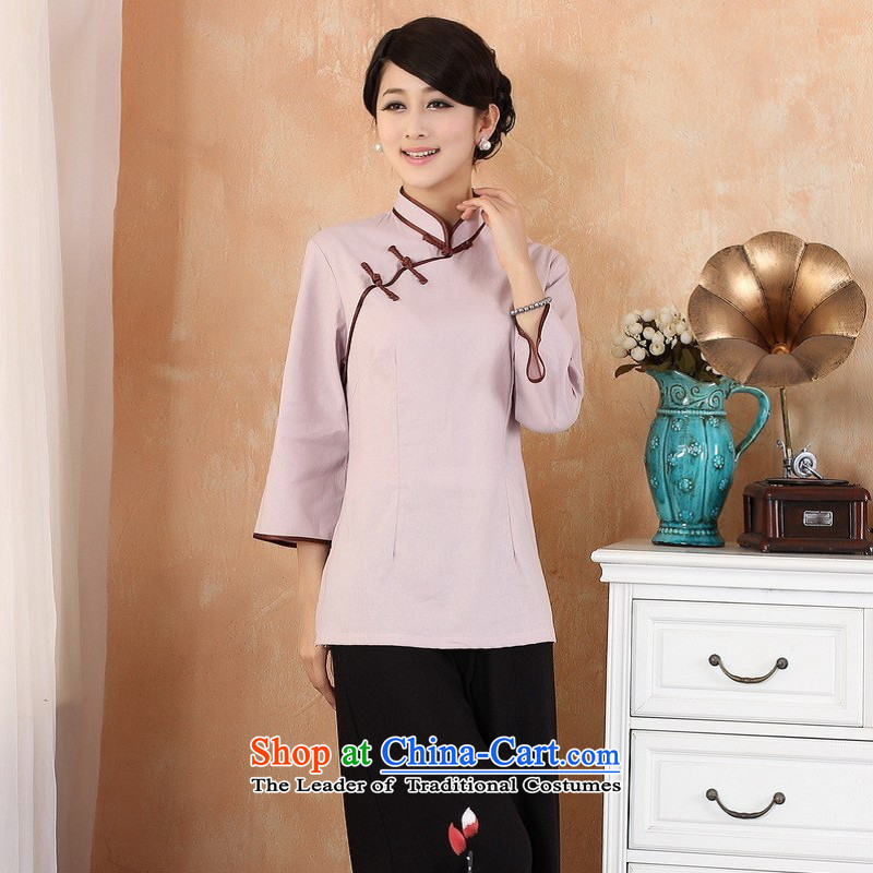 Ms. Li Jing Tong Women's clothes summer shirt collar cotton linen Chinese Han-women in Tang Dynasty improved cuff 2382 - 3 M recommendations 100-110 catty purple_