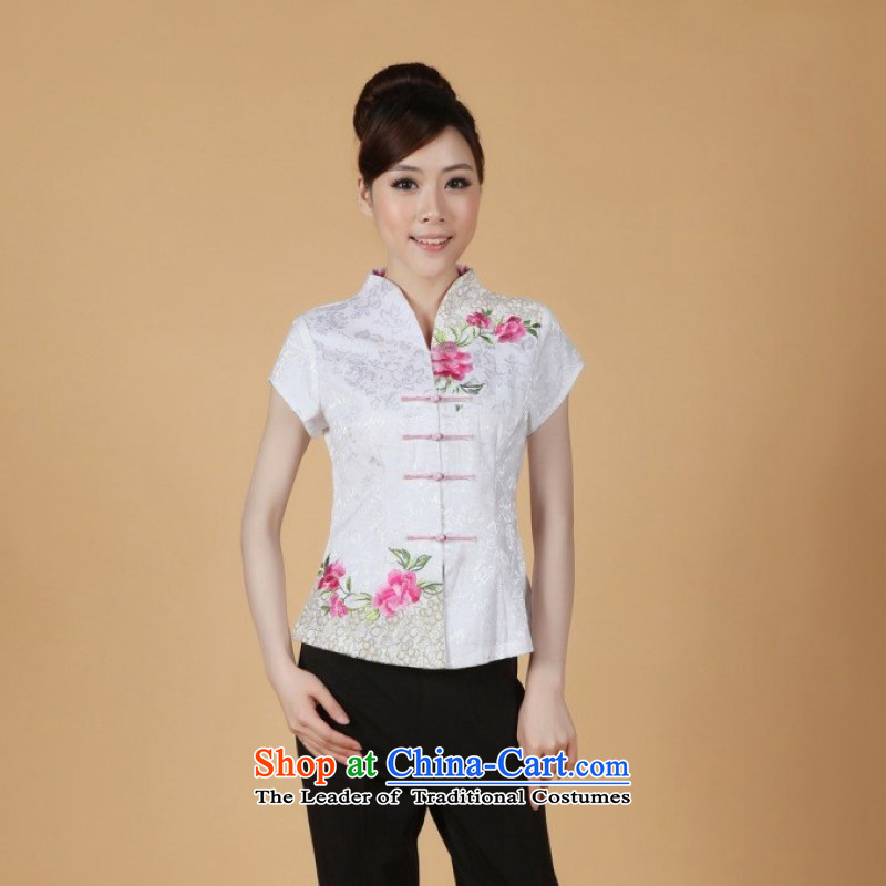 Ms. Li Jing Tong Women's clothes summer shirt collar embroidered Chinese Han-Tang dynasty improved women's short-sleeved?2338 - 1 White?M recommendations 85-100 catties)