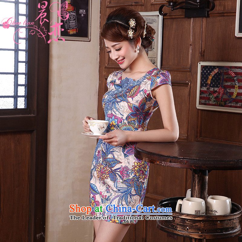 Land 2014 New Morning Summer Stylish retro short of improved cheongsam dress Tang dynasty daily long acacia 564140 Blue XXL