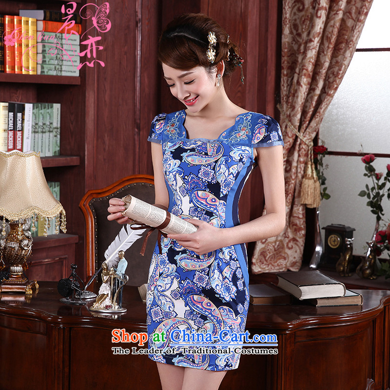 Morning new qipao Land summer short of improvement and Stylish retro Chinese cheongsam dress short-sleeved LOW COLLAR聽564111聽Blue聽155_S