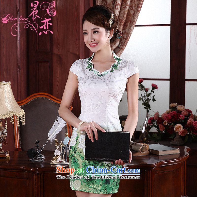Land 2015 New Morning Summer Stylish retro short of improved cheongsam dress Tang dynasty daily kiyomasa 564114 155_S green
