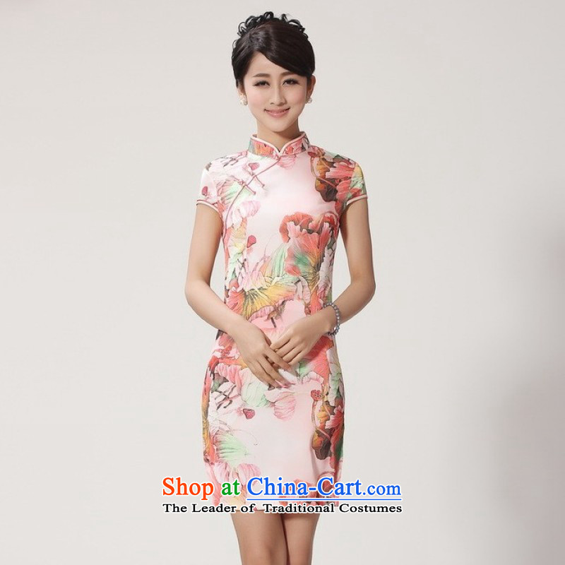 158 Jing qipao summer improved retro dresses collar hand-painted Chinese cheongsam dress short of improved?-2366 - 1 red?PUERTORRICANS recommendations 85-95 catties_