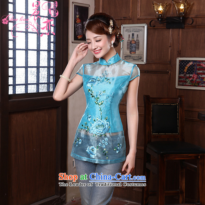 Morning new qipao Land summer short of improvement and Stylish retro CHINESE CHEONGSAM short-sleeved T-shirt Euro 3068 two-color yarn root燲XXL yellow