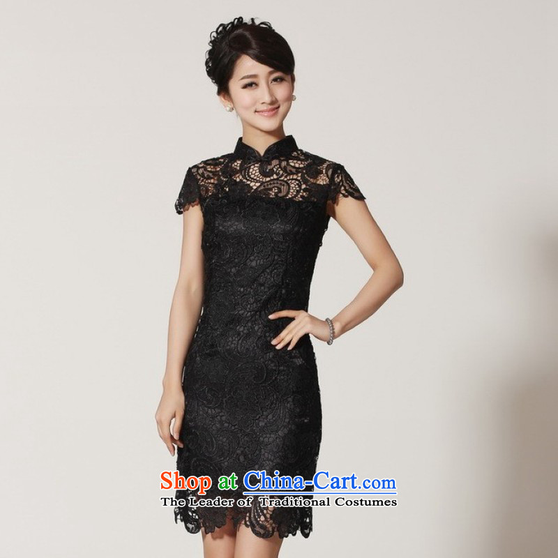 C.o.d. 158 Jing new summer collar short-sleeved lace Chinese qipao LF-2 Black improvement proposals, paras. 110115_ burden L