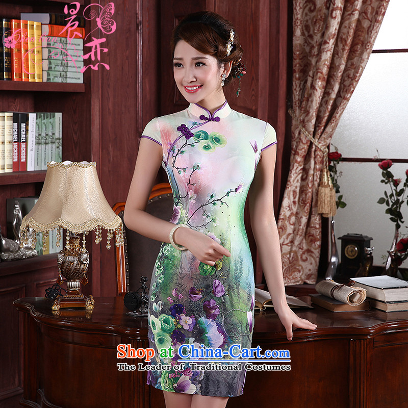 Morning new qipao Land summer short of improvement and Stylish retro herbs extract silk cheongsam dress 2 Color Chinese 1358 Green聽XL