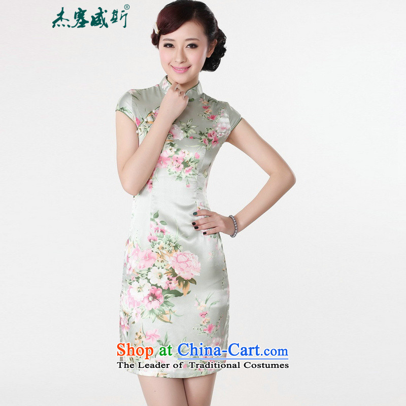 In Wisconsin, 2015, the new national wind is pressed to stamp Tang retro fitted cheongsam dress female LJ5133 green L