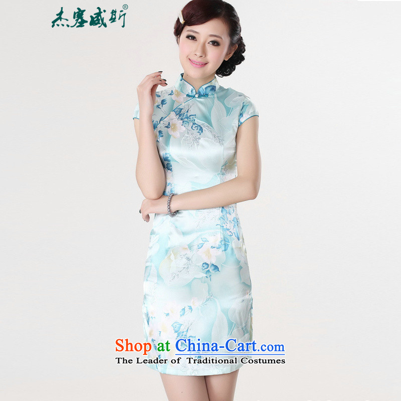 In the new kit stylish improved female mounting angled neck stamp short-sleeved cheongsam dress LJ5132 girl  S Light Blue