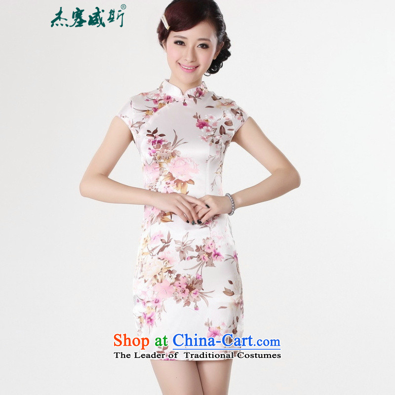 In the new Jie) Improved collar retro stamp short-sleeved Tang dynasty cheongsam dress?LJ5134 female?White?XL