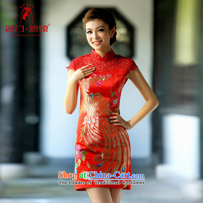 2015 new cheongsam lace qipao short of phoenix package shoulder qipao Stylish retro qipao 109 M