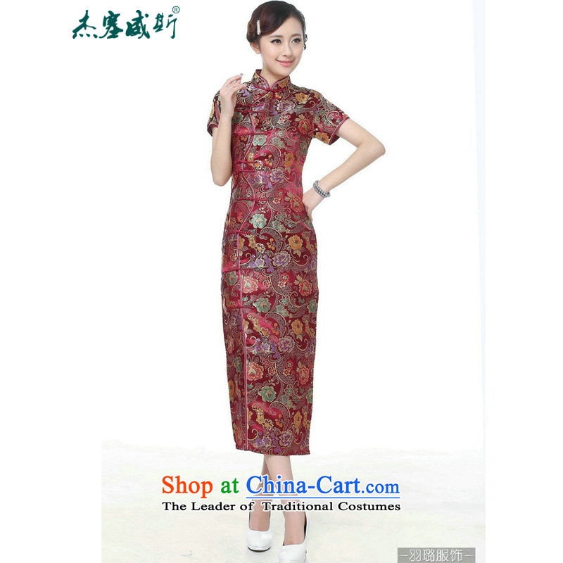 In the new kit, Retro ethnic improved 10 detained Short-Sleeve Mock-Neck long skirt qipao Tang dynasty?TJ0028#??XXXL wine red