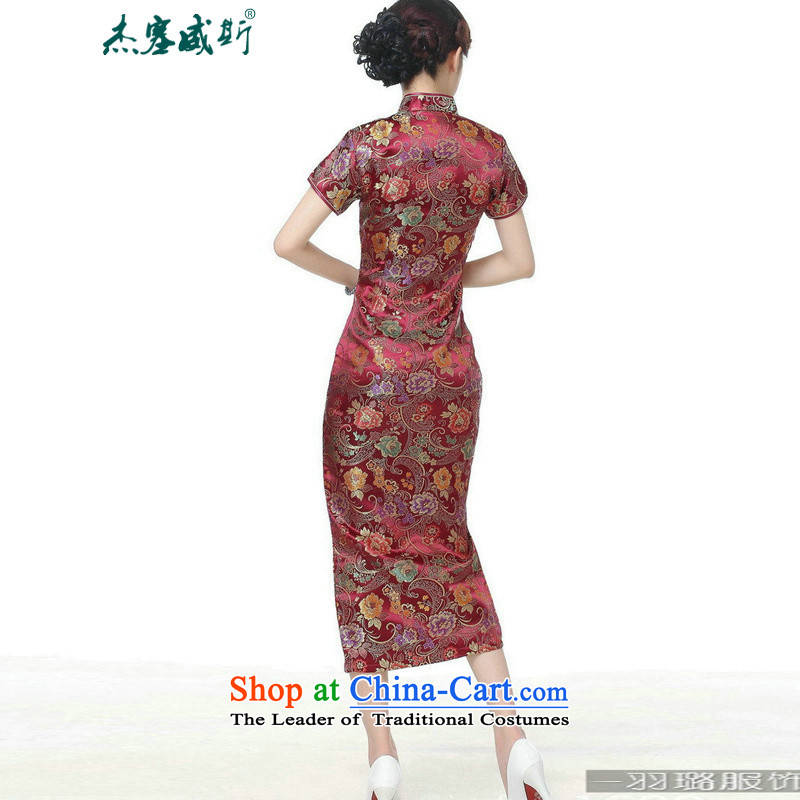 In the new kit, Retro ethnic improved 10 detained Short-Sleeve Mock-Neck long skirt qipao Tang dynasty TJ0028#  XXXL, wine red in Wisconsin, , , , Jie shopping on the Internet