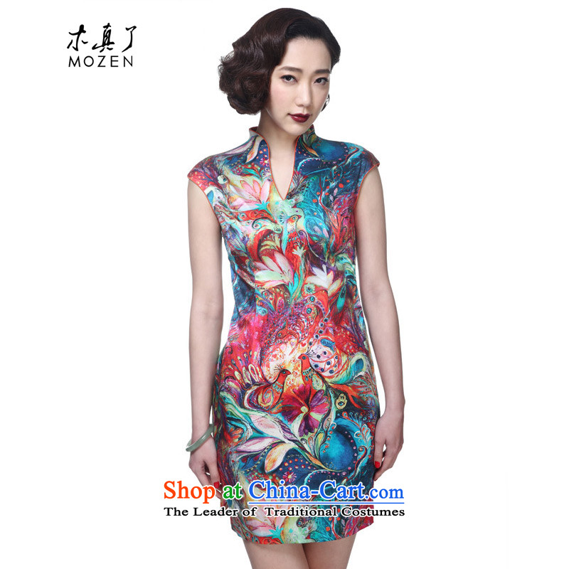 Wood of 2015 Summer really new Chinese silk cheongsam dress stylish cheongsam dress female 42741 email package 12 Xxl_a_ Dark Yellow
