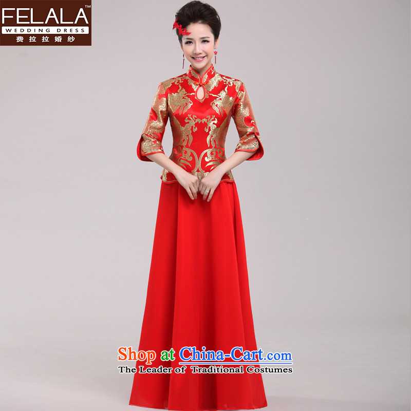 Ferrara winter red bride bows dress Chinese dragon and improved use of Qipao long evening dress Sau San�L