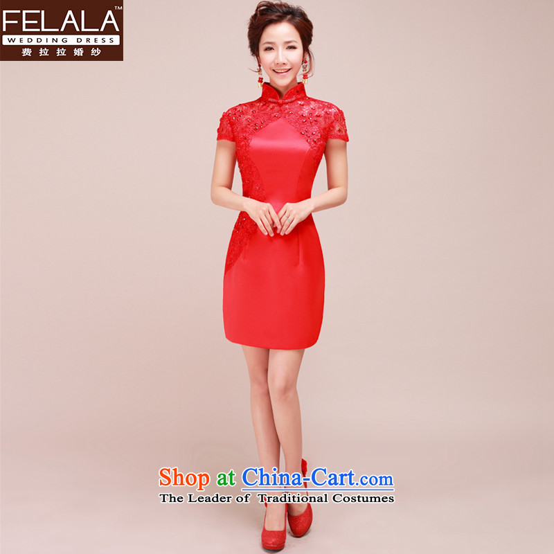Ferrara New Red qipao qipao gown bride short of marriage, lace bows qipao燲L燬uzhou Shipping Services