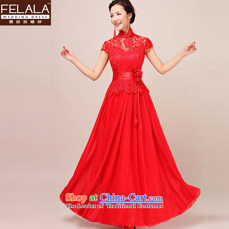 Ferrara聽2015 new bride cheongsam dress marriage red lace long Tang Dynasty Dinner dress bows services spring winter聽M聽Suzhou Shipment