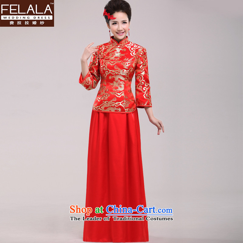 Ferrara 2015 New Chinese improved retro bridal dresses skirt spring bride red dress bows services L Suzhou Shipment