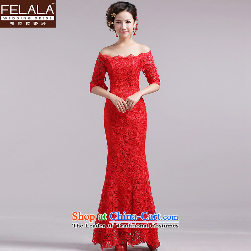 The word of Ferrara shoulder water-soluble lace bows services red dress in bride long-sleeved straps to align spring M