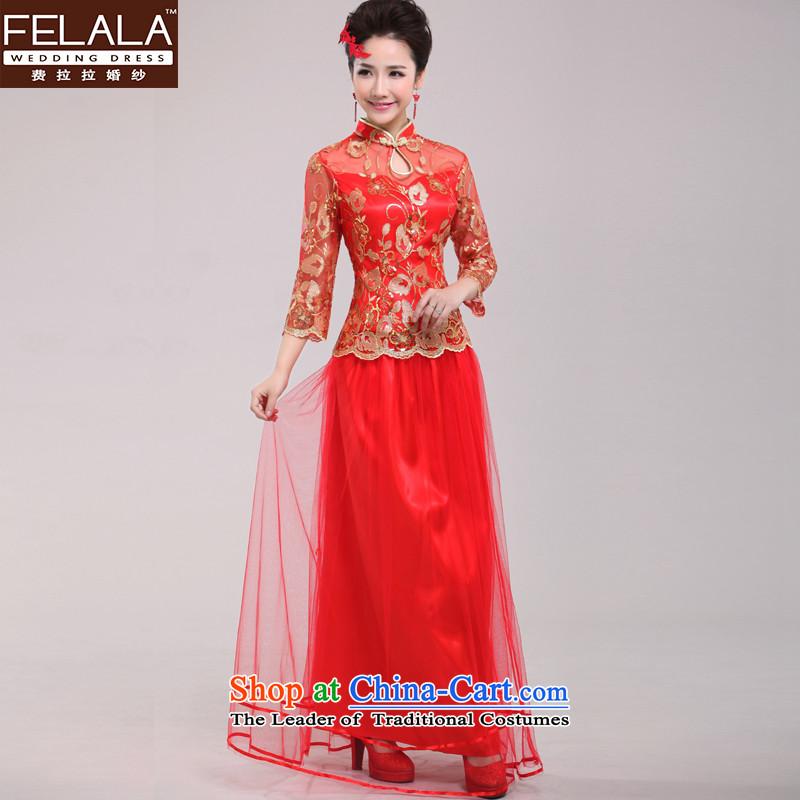 Ferrara cheongsam dress red spring bride improved retro marriage bows wedding service long-sleeved bride replacingXLSuzhou Shipment