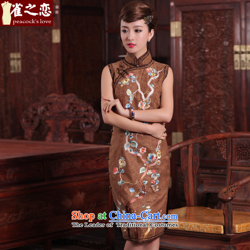 Love of birds equine?spring 2015 Travel New traditional suzhou embroidery silk yarn retro qipao cloud of incense brown?S