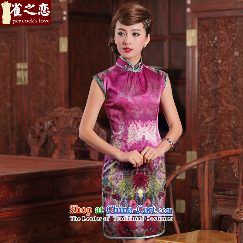 Love of birds from燬pring 2015 Namibia Lau new cheongsam dress stylish improved herbs extract short of Silk Cheongsam purple燤
