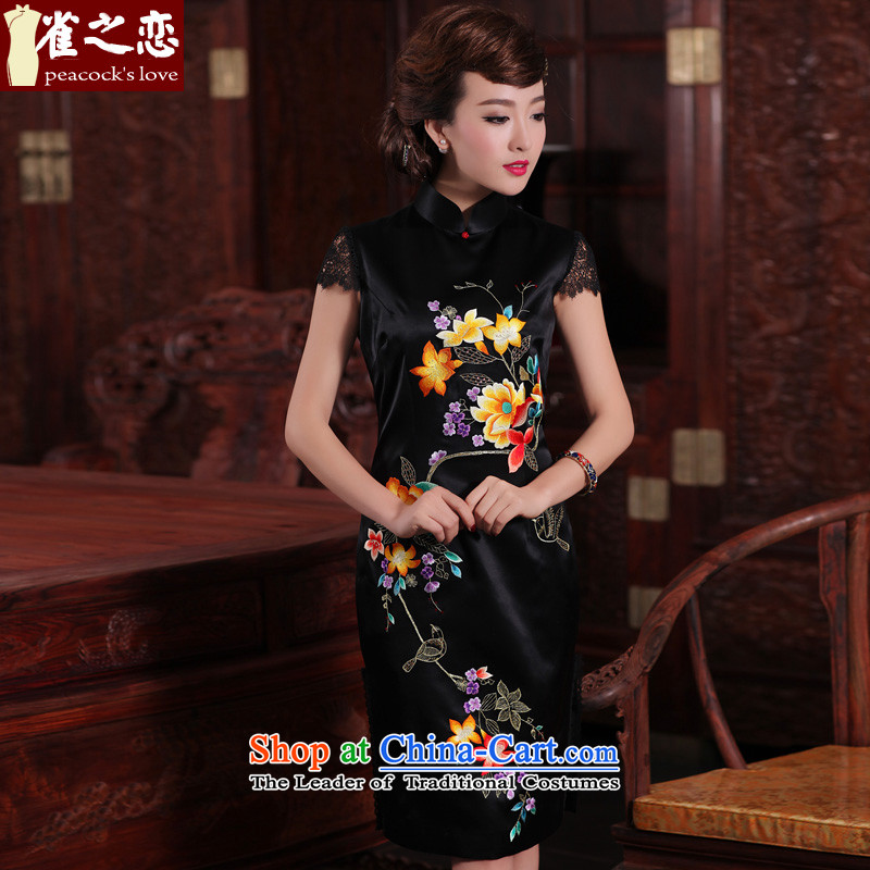 Love Birds of nomination fragrant?spring 2015 new traditional hand made embroidered heavyweight Silk Cheongsam QD465 black - 20 days pre-sale is made up of the?XL