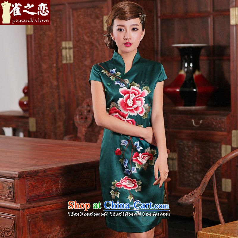 Love of birds, deplored the edge of Lai?Spring 2015 new traditional hand embroidery heavyweight Silk Cheongsam QD461 GREEN?M