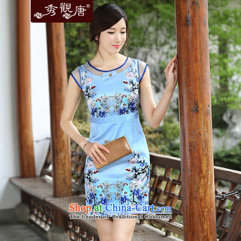 [Sau Kwun Tong] like elegant qipao women 2014 Summer skirt the new Chinese cheongsam dress QD4404 improved stylish light blue?L
