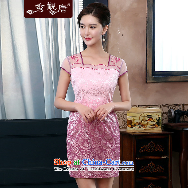 -Sau Kwun Tong- if the water in the 2015 Summer New Chinese qipao improved Couture fashion dresses QD4416 pink燲XL