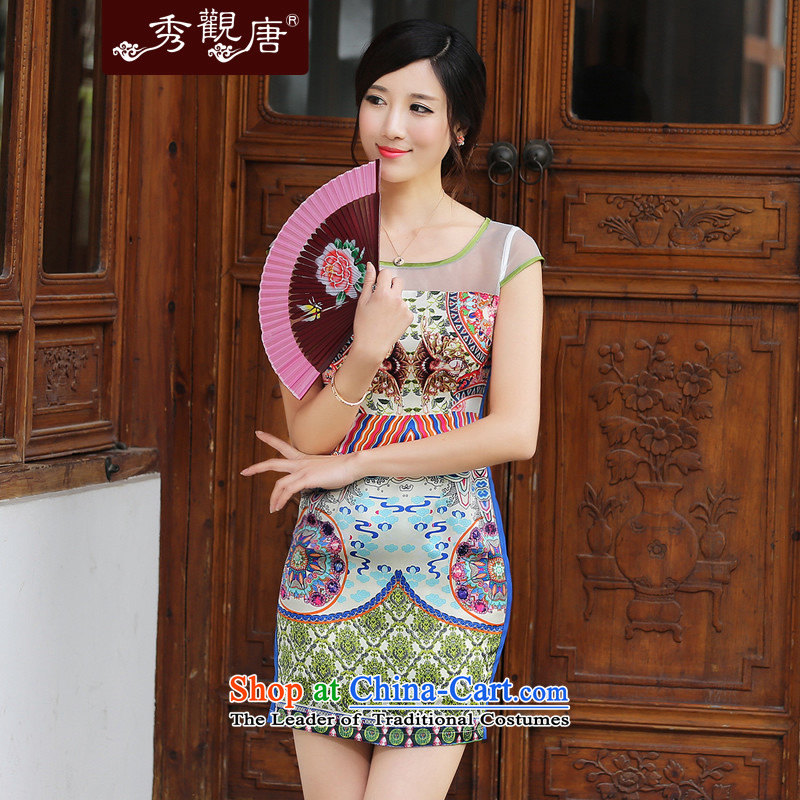 -Sau Kwun Tong- summer ice 2014 Summer sexy new dresses ethnic retro women QD4418 SUIT聽XL