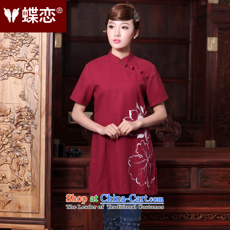 The Butterfly Lovers 2015 Summer new women's China wind improved disk detained qipao cotton linen, short-sleeved T-shirt, Ms. Tang dynasty 44005 figure?L