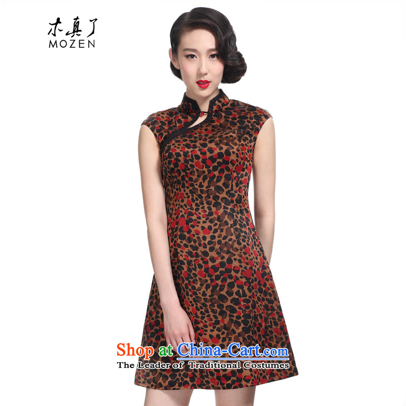 The 2015 summer wood really new Chinese elegant leopard silk cheongsam dress�871 08 coffee ground red dot�XL