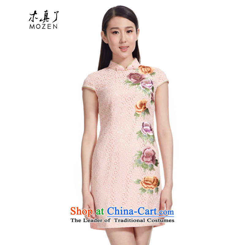 The Tang Dynasty outfits wood really 2015 new Chinese lace improved qipao short of Sau San dresses Female 21811 19-pack Light Pink�XXL