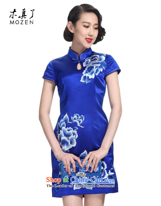 The Tang Dynasty outfits wood really spring 2015 New Silk Cheongsam dress Chinese improvements Sau San skirt female 22110 10 blue?Xxl(b) skirt