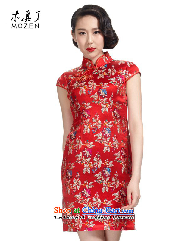 Wooden spring and summer of 2015 really new women's silk wedding dress elegant qipao female package mail-order brides NO.22112 visitor 05 RED M