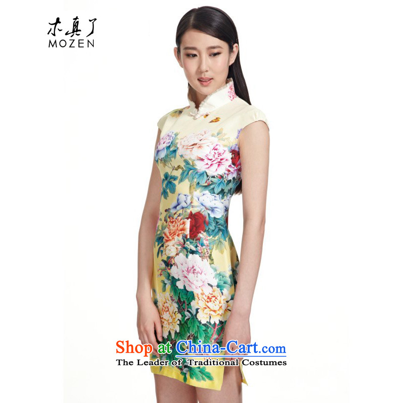 The MOZEN2015 wood really summer China wind collar short of Sau San Silk Cheongsam Female�00960 email 13 yellow package�L