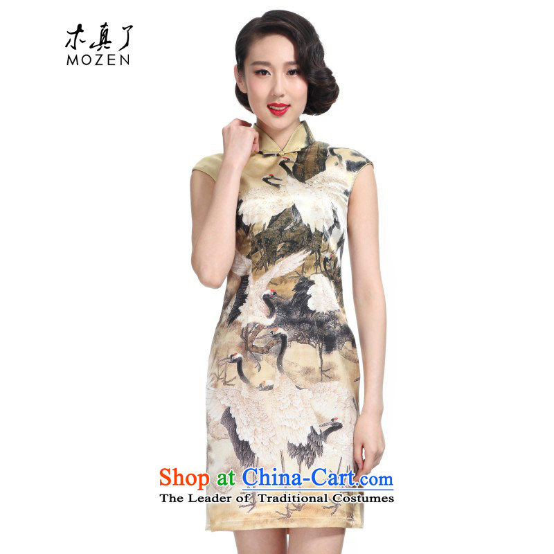 Wooden spring of 2015 really new Silk Cheongsam dress original China wind poster short skirt 11435, 12 Yellow Crane�XL