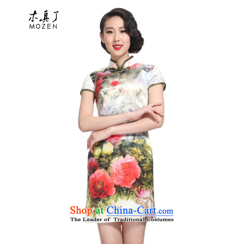 Wooden spring and summer of 2015 Really China wind silk peony stamp short of Qipao Female 11438 03 cream S