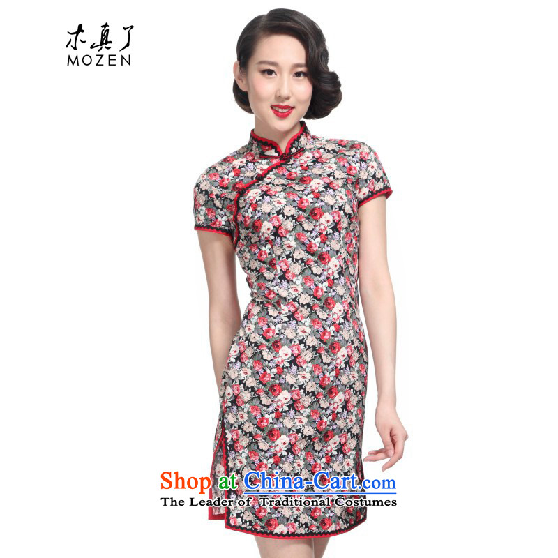 The new 2015 really wood of Chinese saika improved qipao cotton half sleeve winter dresses�573 TW-3D Precision Tweezer For 01 black flower燲XL