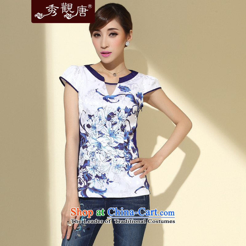 [Sau Kwun Tong] Magnolia Fong new summer 2015 of Chinese short-sleeved T-shirt V-Neck Stamp Sau San T-shirt P4107 Chinese White M