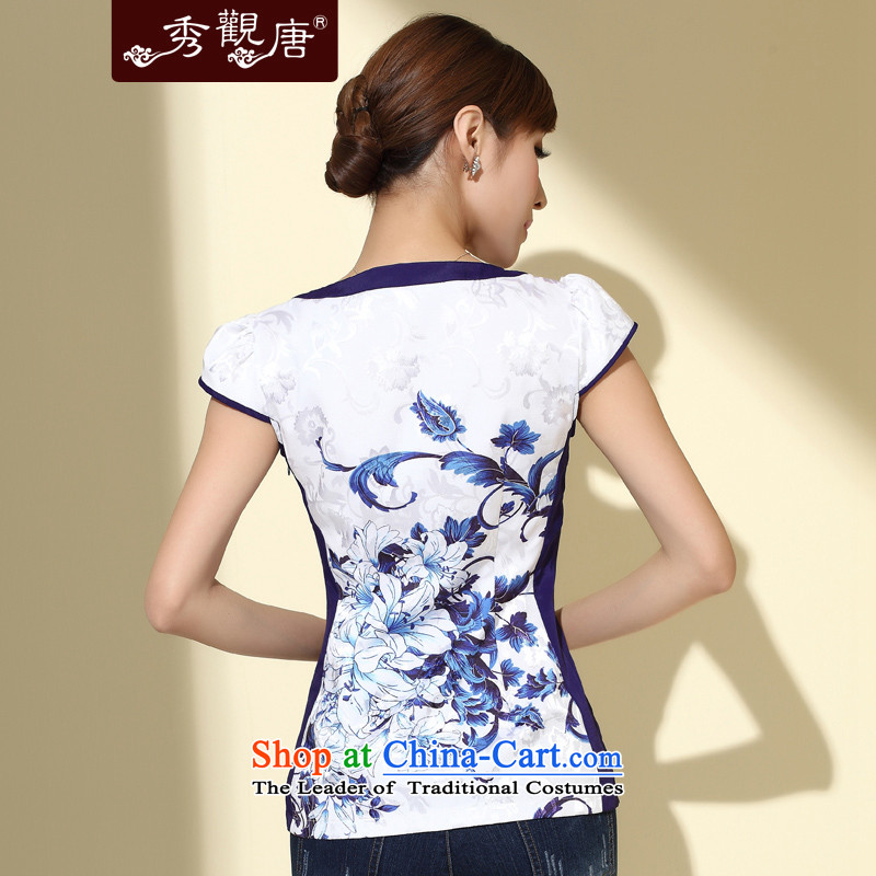 [Sau Kwun Tong] Magnolia Fong new summer 2015 of Chinese short-sleeved T-shirt聽V-Neck Stamp Sau San T-shirt P4107 Chinese White聽M, Sau Kwun Tong shopping on the Internet has been pressed.