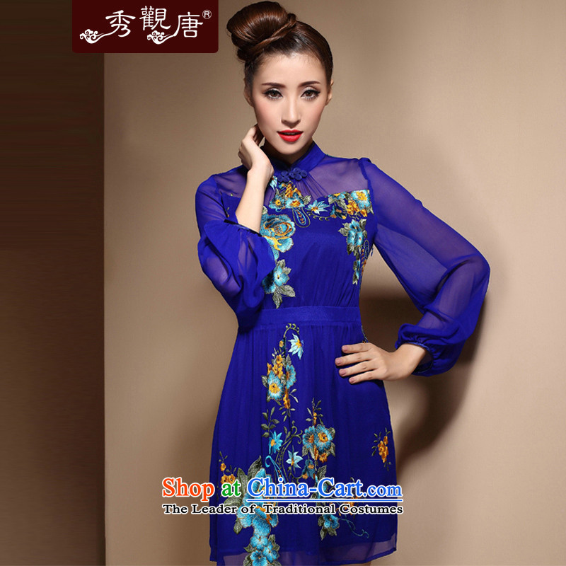 [Sau Kwun Tong] Blue Yu upscale silk embroidery cheongsam 2015 spring/summer long-sleeved stylish silk cheongsam dress temperament HC3868 BLUE�L