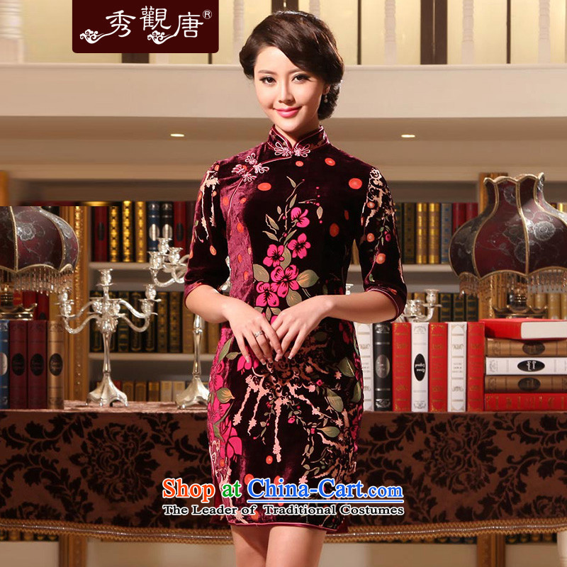 -Sau Kwun Tong- spend to staff of a classical cuff Silk Cheongsam 2014 Summer new flocking silk cheongsam dress stamp G911391 better red燲XL