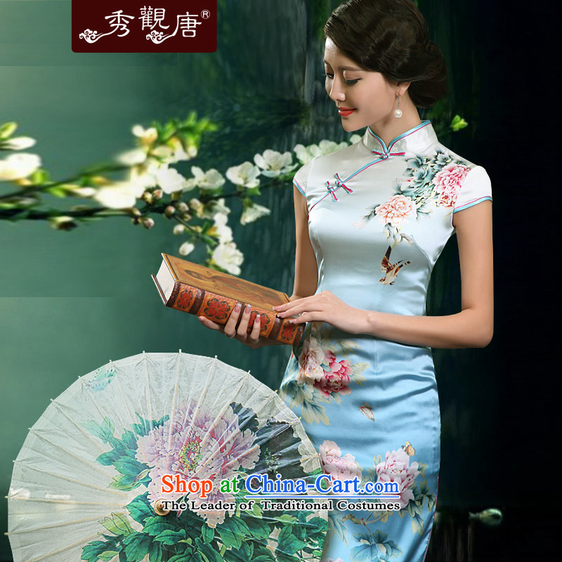 -Sau Kwun Tong- Peony Pavilion heavyweight Silk Cheongsam 2015 Summer retro upscale silk cheongsam dress G81155 load mother suit short,燣