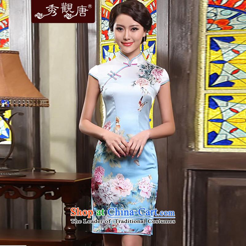 [Sau Kwun Tong] Peony Pavilion heavyweight Silk Cheongsam 2015 Summer retro upscale silk cheongsam dress G81155 load mother suit,聽L, Soo-View short Tang , , , shopping on the Internet