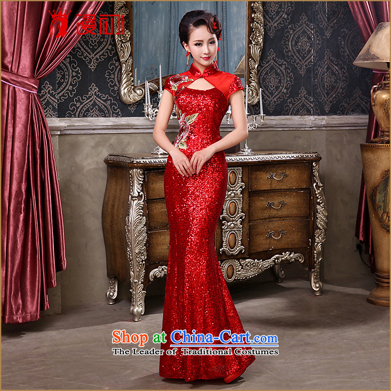 The beginning of the Winter 2015 man long qipao new Chinese antique light slice lace crowsfoot qipao bride services evening drink red red?S