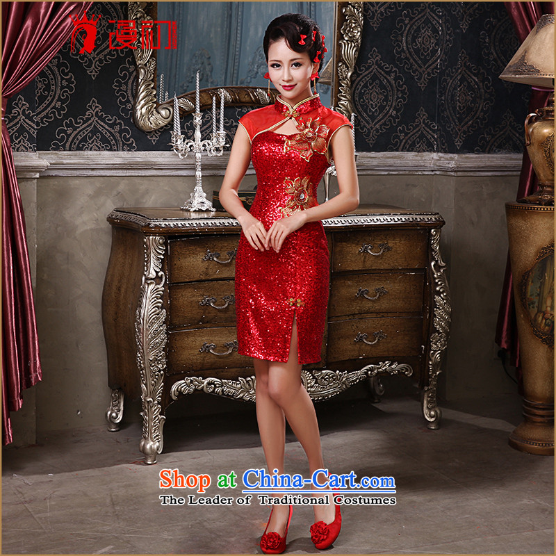 The early evening dresses New Man, 2015 on red short of the forklift truck graphics thin retro qipao Sau San marriage bows services red�XL
