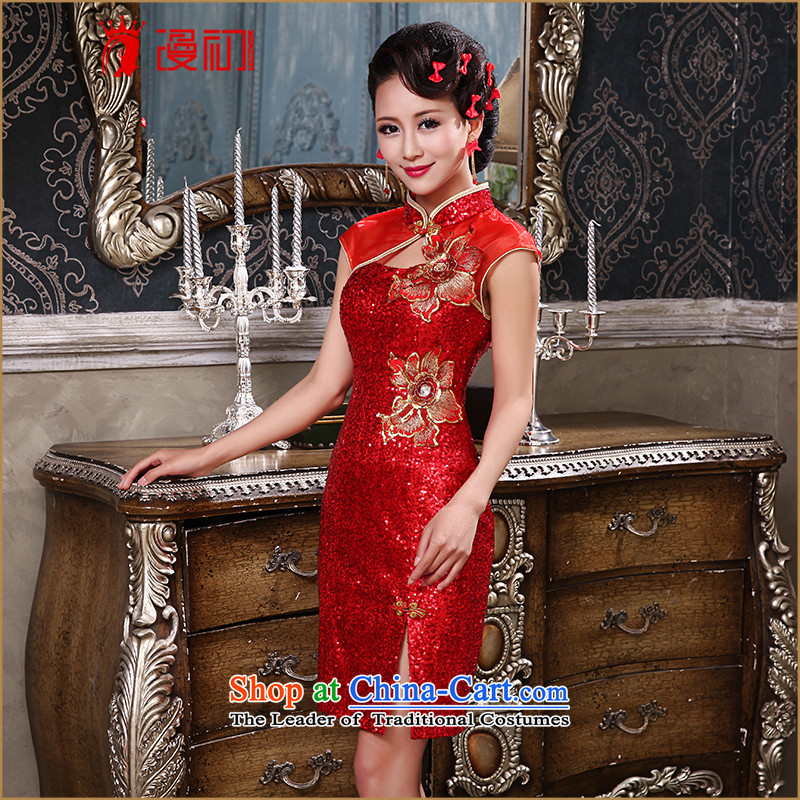 The early evening dresses New Man, 2015 on red short of the forklift truck graphics thin retro qipao Sau San bows services red聽XL, married man early shopping on the Internet has been pressed.