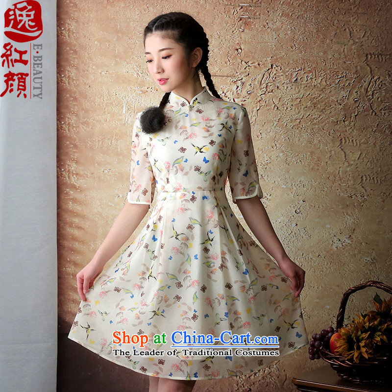 A Pinwheel Without Wind if Yu Chun Yat Load New Stylish retro qipao improved cheongsam dress female cheongsam dress Yellow燲L