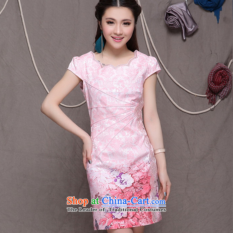The end of the high end of the light of ethnic Chinese women cheongsam dress retro Sau San cheongsam dress ZMY9902 pink?XXL